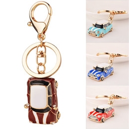 Wholesale Ring Models For Women - 4 Styles Mini Car 3D Keychains Car Model Key Rings Key Holder For Women & Men Bag Accessorices Keychains Fashion Gift Free DHL G637Q