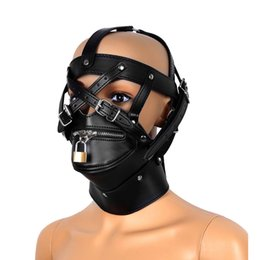 leather dress accessories Australia - oys Costume Accessories Unisex Adjustable Leather Fancy Dress Masks Full Covered Hood Mask Buckled Lockable Head Harness with Zipper Mout...