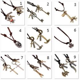 Wholesale Mens Anchor Necklaces - Adjustable Retro Genuine Leather Necklaces Vintage Handmade Cowhide Anchor Skull Charm Mens Pendant Necklaces Punk Fashion Jewelry