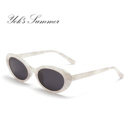 Wholesale Green Glass Marbles - Yok's Summer Vintage Small Oval Sunglasses Women Brand Designer Marble PC Frame Sun Glasses Ladies Decoration UV400 Oculos WL094