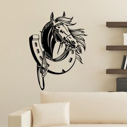 Wholesale Wall Decals Horses - Head Of Horse Wall Stickers Home Decor Adhesive Removable High Quality Vinyl Wall Decals Animal Kids Room Decoration