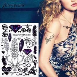 glaryyears 1 лист Акварель макияж тела наклейка поддельные черный узор перо Волк временные татуировки наклейки шеи запястье искусства LC от Поставщики татуировка кисти запястья