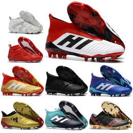 Wholesale Messi Cleats White - Mens High Ankle Football Boots Predator 18 FG Accelerator DB Soccer Shoes ACE 17 PureControl X Purechaos Nemeziz Messi Soccer Cleats