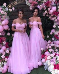 Abito da sposa grils online-Abiti da damigella d'onore Abiti di pizzo rosa Applique elegante gonna di tulle Puffy Wedding Party Dress per Grils