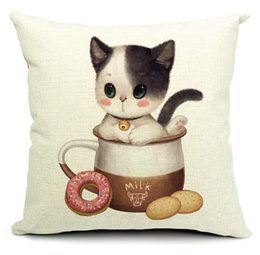 Wholesale Wholesale Milk Jars - The Kitten In Milk Cookie Jars Cat Pillows Emoji Euro Home Decor Pillow Environment Enhance Gift Pets HD Decorations