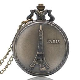 reloj paris eiffel Rebajas Cadena de collar de tono bronce PARIS Torre Eiffel Cuarzo Colgante Movimiento de cuarzo Reloj de bolsillo Hombres Mujeres Regalos