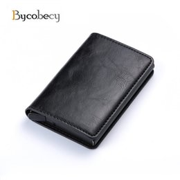 aluminium bank card holder Coupons - Bycobecy 2018 Unisex RFID Aluminium Card Holder Business Card Case Gift Box Retro Crazy Horse PU Leather Bank