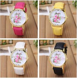 Wholesale Flower Wrist Bands - Fashion Brand Women's Fashion Flower Dial Leather Band Quartz Analog Wrist Watches Watch Woman Clock Date Relogio Feminino Saat