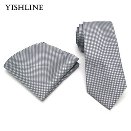 Wholesale Silk Neck Ties Xl - T226 Classic Men's 100% Silk 8CM Luxury Tie Handkerchief Set Gray Grey Plaid Hanky Necktie For Men Normal Wedding Business Party
