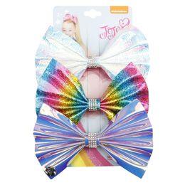 2019 strass rainbow 3pcs / set di capelli del tessuto del laser dell'arco di cristallo arcobaleno clip di capelli per ragazze per bambini nodo di strass hairgrip accessori per capelli fai da te strass rainbow economici
