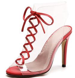 2018 Red Green Pvc Trasparente Shoes Donna Peep Toe Bandage Lace Up Tacco alto Scarpe da donna Sexy Sandali gladiatore supplier green cross sandals da sandali trasversali verdi fornitori