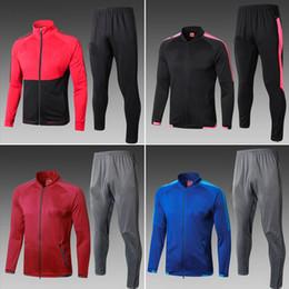Wholesale Polyester Uniform Pants - real madrid jacket KIT men 2017 2018 RONALDO MESSI football tracksuit WITH PANTS GRIEZMANN SUAREZ soccer jerseys uniforms chandal futbol