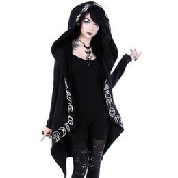 Felpe con cappuccio Gothic Casual Cool Chic Black Plus Size Donna Felpe con cappuccio in cotone con cappuccio Plain Print Female Punk Hoodies cheap hoodie chic da hoodie chic fornitori