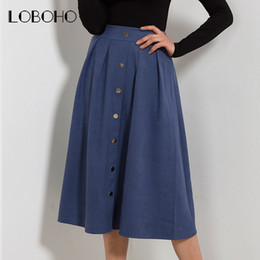 576bbe5c07c High Waist Skirt Autumn Winter 2017 New Arrival Fashion Suede Leather Long  Skirt Pleated Single Buttons Casual Midi Skirts Women
