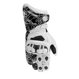 Guantes blancos de moto online-Guantes de cuero Road Bike Racing Motocicleta Race Motorbike White Gloves