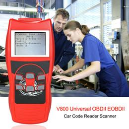 trasporto libero di vci Sconti V800 Universal OBDII EOBDII Lettore di codici a barre Scanner motore Errore di diagnostica Strumento di scansione con schermo LCD a colori Accessori per auto