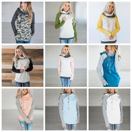 Wholesale Drawstring Top - Double Hood Hooded Hoodies Sweatshirts Women Drawstring Pullover Hoodie Female Patchwork Sweatshirt Autumn Coat Warm zip hoody Maternity Top