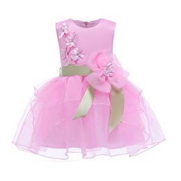 ribbons bows for skirts Promo Codes - New Arrival Girl Bowknot Ribbon Pink Princess Dress Mesh Bow Bubble Skirt Kids Dress Princess Clothing for Baby Clothes