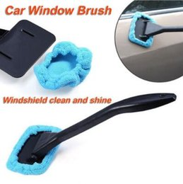 Wholesale quality microfiber cloths - High Quality Car Window Brush Cleaner Microfiber Wiper Auto Washable Brush Glass Cleaner Cleaning Tool with Clean Cloth Pad CCA9542 50pcs