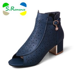 Wholesale Size 32 Sandals - S.Romance Women Sandals Plus Size 32-43 Fashion Med Square Heel Office Lady Pumps Woman Shoes Boots Black Blue Red Beige SS901