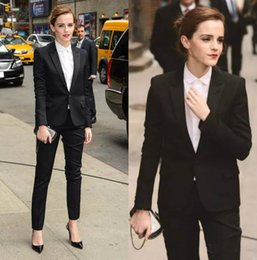 Wholesale navy uniforms women - 2018 Spring Emma Watson Black Women Suits Custom Made Formal Business Wear Sexy Pant Suit Office Uniforms