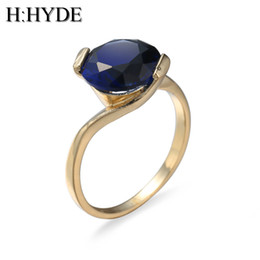 Wholesale big stone ring designs - whole saleH:HYDE Blue Rings Rose-Gold-Color Elegant Blue Pink Big Stone Ring with Paved cz Jewelry for Women Party and Wedding Design