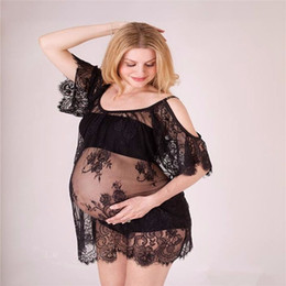 Wholesale Dresses For Pregnant Long Sleeve - Lace Maternity Dresses For Photo Shoot Sexy Pregnant Dresses Maternity Gown Off shoulders Pregnancy dress Photography Props