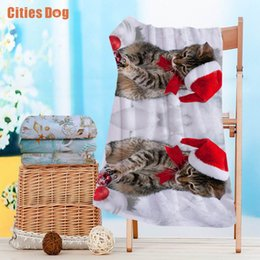 Wholesale Christmas Compressed Towel - Beach towel new Year Animal Christmas cat playing in the snow gift Microfiber Travel outdoors Sports Swimming Camping Bath Yoga