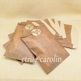 Wholesale Wedding Thank Gift Bags - 48pcs lot Kraft paper candy bag with thank you Sticker gift bags rustic wedding decoration centerpieces decoracion vintage