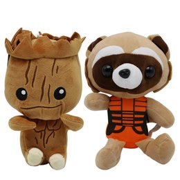 Wholesale rocket party - 23cm Guardians Galaxy Groot Plush Doll Toys Tree People Rocket Raccoon Plush Child Kids Gift Party Favor AAA481