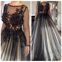 netted evening gowns Promo Codes - 2019 Amazing Black 3D Floral Lace Appliques Formal Evening Dresses Pleated Nets Long Sleeve Ashi Studio Dubai Arabic Muslim Prom Party Gowns