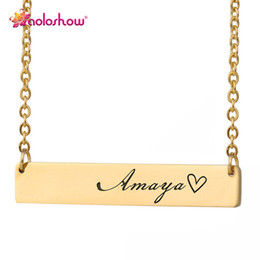 custom stainless steel dog tags Promo Codes - Custom Personalized Bar Necklace Women Gold Color Stainless Steel Engraved Heart Coordinates Name Words Simple OL Jewelry NL2652
