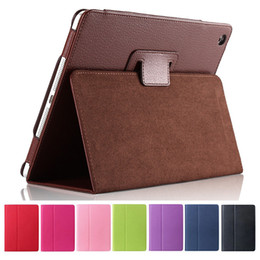 Wholesale New Bundles - For Apple ipad Pro Case Flip Litchi PU Leather Cover For New ipad 2 ipad 4 Smart Stand Holder Folio Case