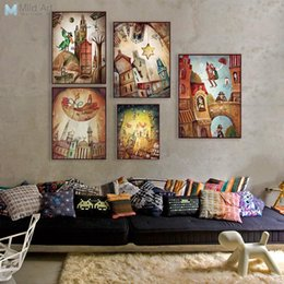 Telai all'ingrosso per quadri di tela online-All'ingrosso-Vintage Retro Fantasy City Dream Boat Star Poster A4 Stampa astratta Fata Wall Art Pictures Home Decor dipinti su tela No Frame