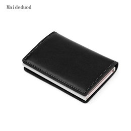 Wholesale Cowhide Box - Maideduod The wind horse RFID stretch Aluminum Alloy credit card package name card box antimagnetic Wallet