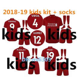 Wholesale football shirt kids kit - 2018 2019 M.SALAH Kids soccer jersey kit 18 19 GERRARD MANE FIRMINO VIRGIL LALLANA M SALAH youth jerseys home child Football shirt uniforms