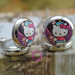 tirer l'horloge Promotion En gros prix bonne qualité argent miroir croquis dessin chat Bonjour kitty poche chaîne montre collier heure horloge antibrittle