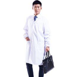 abrigo largo blanco hombre Rebajas Medical White Men Long Lab Abrigos S M L XL 2XL 3XL Women Lab Coat