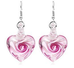 Серьги внутри онлайн-Сердце с цветами внутри Lampwork Murano Итальянские венецианские стекла Мода мотаться Люстра Серьги Handmade Jewelry Бесплатная доставка
