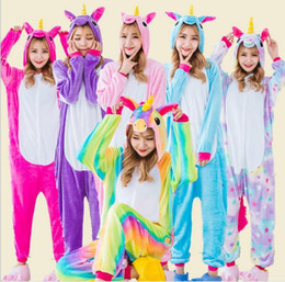 Wholesale home clothes sleepwear - Flannel Hoodie Star Unicorn Pajamas For Women Adult Cartoon Sleepwear Winter Animal Homewear Unicornio Pyjama DDA706 Home Clothing
