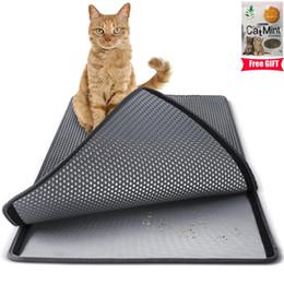Alfombras para mascotas online-3 colores grandes de doble capa de arena para gatos trampero EVA almohadilla impermeable 3D Honeycomb Kitty Pet Rabbit Litter Catcher Mat