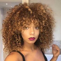 12-zoll-perücke lockig Rabatt 14 Zoll lange Curly Afro Curly Perücken für schwarze Frauen Blonde Perücken Synthetische Haar gemischte afrikanische Brown