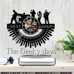 Wholesale Bedroom Group - 1Piece Music Vinyl Record Wall Clock Best Group Wall Art Decor For Living Room Bedroom Musical Band Sysmbol Clock Unique Gifts