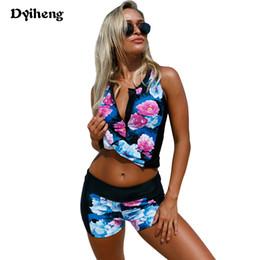 Wholesale Floral Tankini Top - Dyiheng Plus Size Swimwear Women Tankini Two Pieces Suits Swimsuit Print Bikini Zipper Tank Top and Trunks Maillot De Bain Femme LC410211