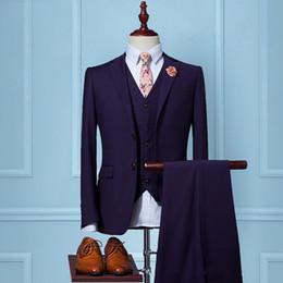 8d2f66cb76b 2017 New Men Suits Two Button purple Suits Jacket Formal Dress Men Suit Set  Wedding Groom Tuxedos (Jacket+Pants+Vest)