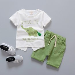 Wholesale elephant clothes suit - Baby Boy Girl Clothes 2018 Summer Infant Clothing Elephant Short Sleeved T-shirts Tops Striped Pants Kids Bebes Jogging Suits