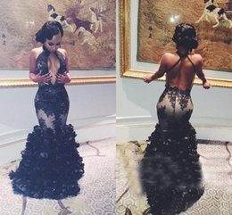 Wholesale Plus 3d Model - 2018 New Sexy Black Halter Floral Mermaid Prom Dresses Sexy Backless Prom 2K17 Tulle Appliques 3D Flowers Floor Length Party Evening Dresses