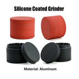 stone coats Coupons - Silicone Coated Grinder 4 Pieces Diameter 63mm 55mm 50mm 40mm Aluminium Alloy Grinders Herb Grinder Metal Grinders Sharp Stone Grinder