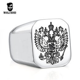 Wholesale russian coats - Eagle Signet Finger Rings A Coat of Navy Russian Men Ring Never Fade Polished Stainless Steel Rings Biker Punk Animal Jewelry
