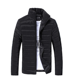 Wholesale Down Jackets 3xl - Men Spring Autumn Down Jackets Cotton Padded Coats Long Sleeved Solid Color Outerwear White Black Blue